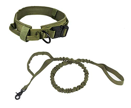 JSM Tactical Dog Collar Nylon Elastic Military Improved Dog Safety & Comfort Leash with Metal Buckle for Daily and Training