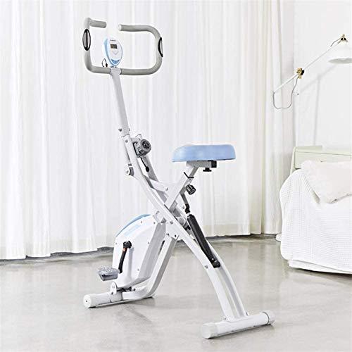 Bicicleta de ejercicio magnética para interiores, bicicleta de ejercicios, bicicleta de ejercicios, bicicleta de cardio, entrenador en casa con bandas de resistencia, resistencia de 8 niveles, blanco-