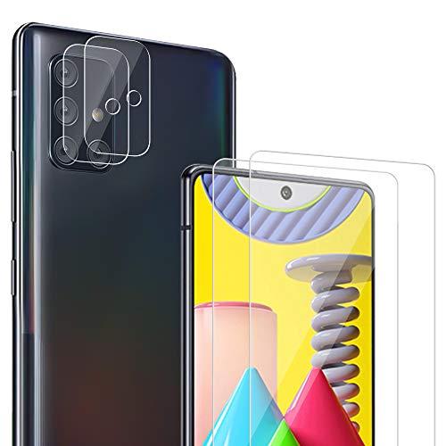 Carantee [2 Stück] Panzerglas und [2 Stück] Kamera Panzerglas für Samsung Galaxy A51 [9H Härte][Anti-Kratzen] [Anti-Bubble][Anti-Fingerabdruck][HD] Klar folie für Samsung A51