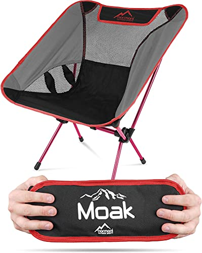 normani Ultraleichter Mini Campingstuhl MOAK 796 g! klappbarer Strandstuhl Anglerstuhl mit Aluminiumgestell - Stabiler Outdoorstuhl - Traglast: 135 Kg (330 lbs) Farbe Anthrazit