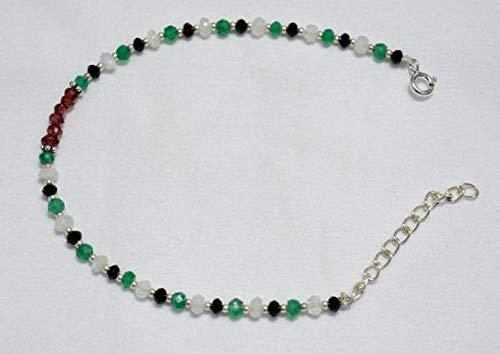 World Wide Gems Gemstone Beaded Bracelet, Garnet Bracelet, Onyx Bracelet, Rainbow Moonstone Bracelet, Silver Bracelet for Women Size-3.5-4mm