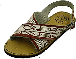 Men Leather Mexican Two Strap PITEADO Bordado Sandals Wine 6
