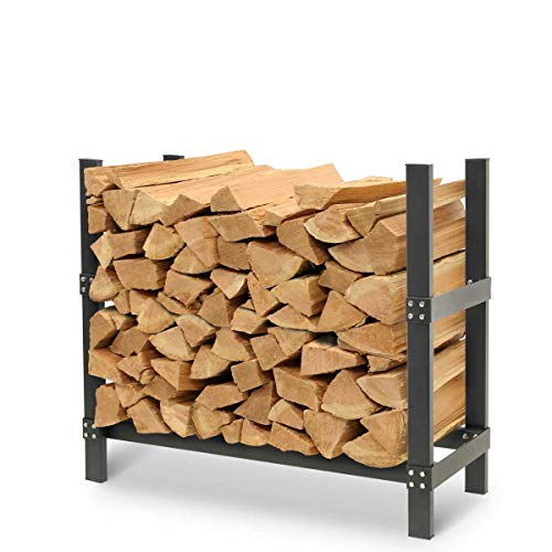Pilgrim Home and Hearth Pro 36' Outdoor Firewood Rack Log Holder With Cover, Wide x 14' Deep x 30' H, Durable Black Powder Coat