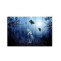 キャンバスにプリントアニマルキャンバスアートペインティング森の中の2匹のオオカミ絵オオカミのポスターとプリントリビングルームの装飾(40x60cm)フレームレス
