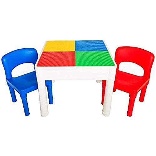 PlayBuild Kids 4 in 1 Play amp Build Table Set for Indoor Activity Outdoor Water Play Toy Storage amp Building Block Fun Includes 2 Toddler Chairs
