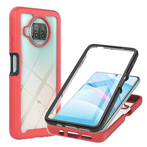TTNAO Compatible con Xiaomi Mi 10T Lite, 360 Protección de Cuerpo Completo Carcasa Duro Protector de Pantalla Integrado PET Clear Cover a prueba de golpes Anti-arañazos Protector Bumper (Rojo)