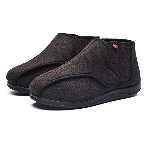 Zapatillas Ortopédica para ensanchar,Zapatos de Velcro Ajustables con pies deformados con Edema ensanchado, Zapatos con Edema diabético con Gancho y Lazo-marrón_39EU