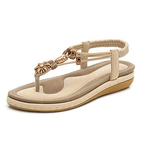 LXYYBFBD sandalen voor dames, abrikoos modieus zomersandalen, vrouwen, bohemian hang, met vrouwen, sandalen, zonder franjes, rond, hoofd, vrouwen, schoenen, wild