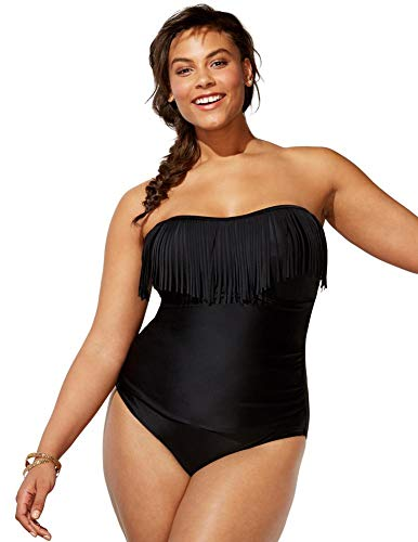 Swimsuits For All Women's Plus Size Fringe Bandeau One Piece Swimsuit 32 Black