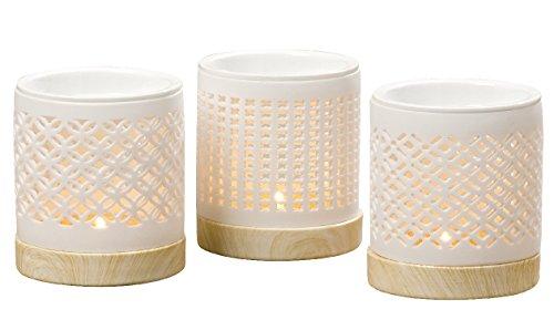Boltze 3 x Duftstövchen Porzellan weiß Höhe 11 cm, Tischdeko, Duft, Geschenk, Deko