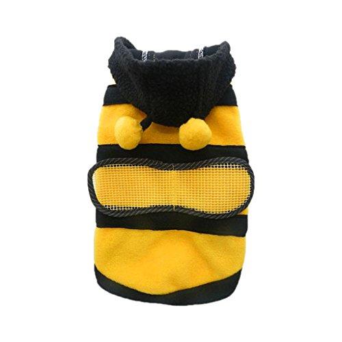 Sudadera con capucha ropa de mascota perro gato caliente escudo cachorro ropa bonita capricho disfraz de abeja–M
