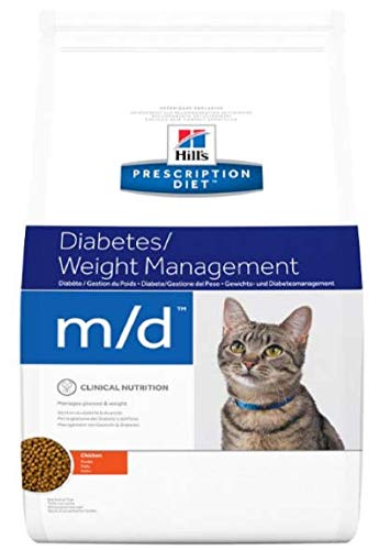HILL'S PRESCRIPTION DIET Feline m/d Diabetes/Weight Management - Chicken Tasty, Low Fat, Low Calorie Dry Food For Overweight Cats With Diabetes Comes With A Woolly Mouse Cat Toy 5kg