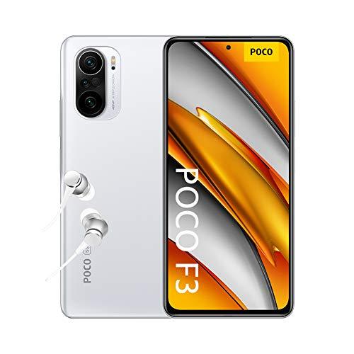 """POCO F3 5G - Smartphone 8+256GB, 6,67"""" 120 Hz AMOLED DotDisplay, Snapdragon 870, cámara triple de 48MP, 4520 mAh, Blanco Ártico (versión ES/PT), incluye auriculares Mi"""