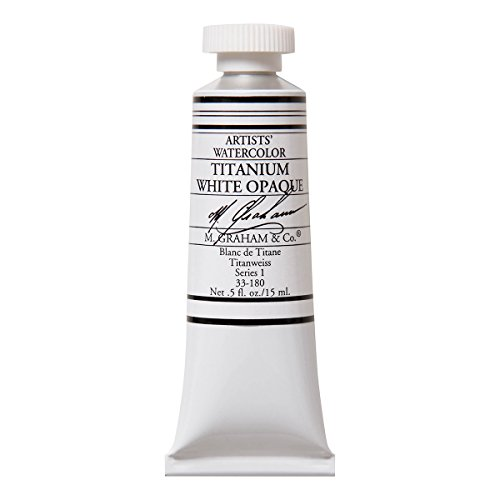 M. Graham 1/2-Ounce Tube Watercolor Paint, Titanium White Opaque (33-180)
