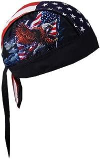 Hot Leathers HWH1017 Flag and Eagle Head Wrap (Black)