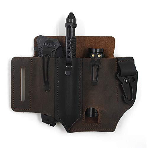 YESBAY Leather Sheath EDC Pocket Organizer, EDC Leather Sheath for Blet, Multitool Sheath with Pen Holder Key Fob Flashlight Pouch Dark Brown