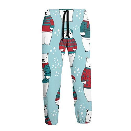 Florasun Polar Bears in Sweaters - Pantalones deportivos para hombre grandes y altos