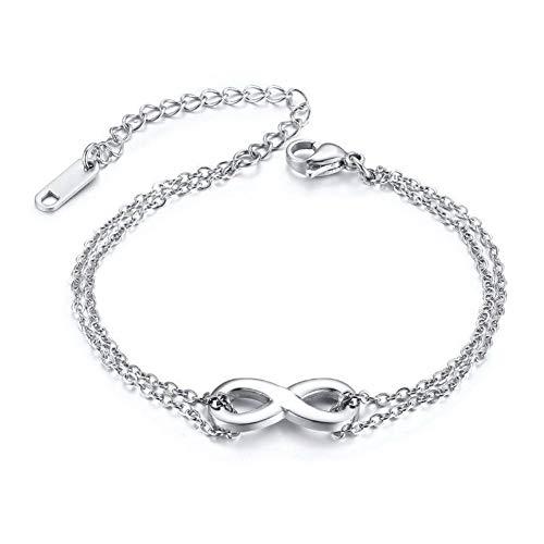 DMUEZW Infinity Zilver Kleur Bedel Armbanden Vrouwen Liefde Eeuwige RVS Ketting Voor altijd Vriendschap Verstelbare Femme Bangle