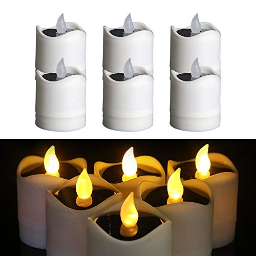 TINYOUTH 6PCS Solar Candle Lights Outdoor, Warm White Light Solar Flickering Candle Lights Flameless Waterproof Candle Lights for Outdoor Wedding Christmas Halloween Party Decor