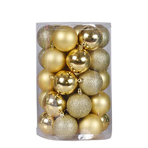 Christmas Ball Ornaments, 60mm/2.36' x 34 Pack Mini Shatterproof Plastic Grinch Halloween Bulbs Decoration(Gold)