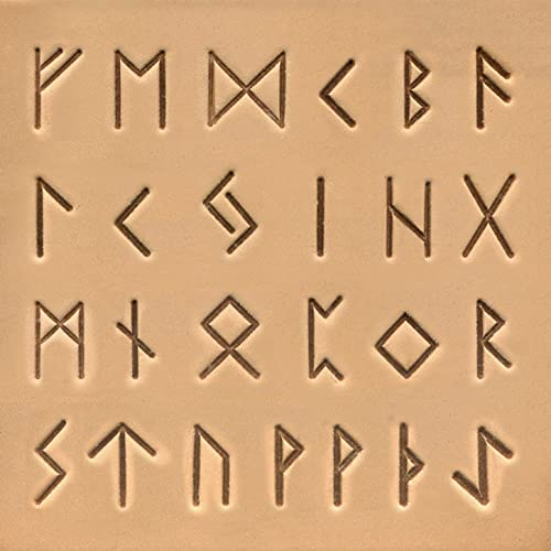 Runic / Celtic Alphabet Letter Stamps Set – 26 Metal Letter Stamps with Stamp Handle for Tooling Leather – Uppercase Decorative Font Leather Stamps for Leathercraft Saddle, 19mm (3/4')