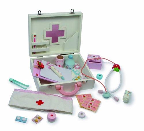 small foot 6113 Mallette de docteur en bois, avec thermomètre, stéthoscope et coiffe, jeu de rôle à partir de 3 ans jouets, 2020975