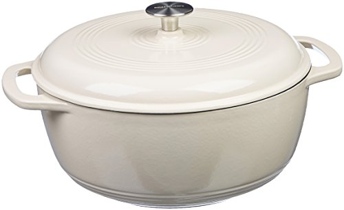 AmazonBasics Enameled Cast Iron Dutch Oven, 7.5-Quart, White