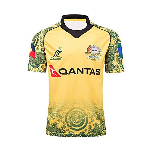 HANJIAJKL 2017 Weltmeisterschaft Rugby Jersey,Rugby-Trikot Australian für Männer,Kurzarm-Freizeit-T-Shirt-Trainingsanzüge,Gelb,XXXL