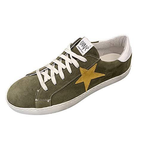 sneakers donna ovye Ovyè by Cristina Lucchi Art. AM 1499 Bosco Bianco Senape Verde Sneakers Scarpa da Ginnastica Ginnica in Vero Camoscio con Stella Made in Italy (41 EU)