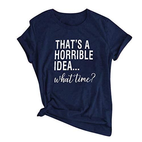 Xniral Damen T-Shirt Sommer Buchstabe Drucken Einfach Kurzarm O-Ansatz Bluse Tops Party Sport Wild Tunic Shirt(a Marine,XXL)