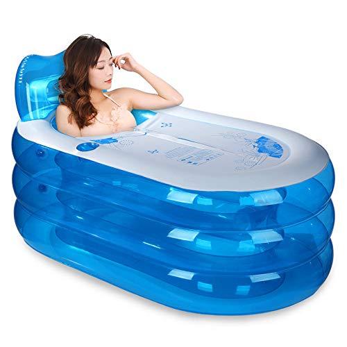 Badewannen für Babys,Verdickte aufblasbare Badewanne Erwachsene Badewanne Faltbare Badewanne Badewanne Kunststoff Kinder@Transparentes blaues Medium + elektrische Pumpe