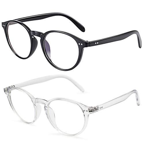 IFHTech Blue Light Blocking Glasses,Vintage Nails Round Minimize Digital Headache Anti Eyestrain Lens Lightweight Eyeglasses Tablet Reading/Gaming/TV/Phones Glasses, Men/Women (Black&Transparent)