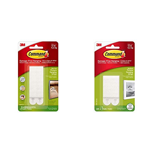 Command 17207 Narrow Picture Hanging Strips, 4 Pairs - White & 17201-4pk Medium Picture Hanging Strips, 4 X 2 - White