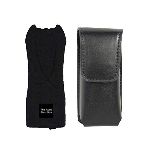 RUNT College Safety Bundle Black 80 MIL Stun Gun with Disable Strap and Leatherette Holster - Lot of 2 as Shown