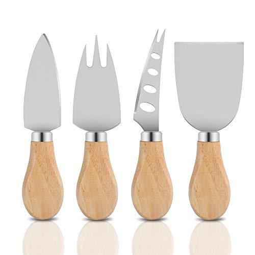 Freehawk 4-teiliges Käsemesser-Set, Käsemesser, Rasierer, Käsegabel und Käsestreuer mit Holzgriff Originalgriff