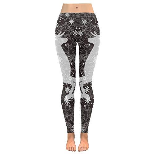 Mother's Day Yoga Pants for Women, Custom Christmas Reindeer Snowflake Stretchy Capri Leggings Skinny Pants for Yoga Running Pilates Gym S