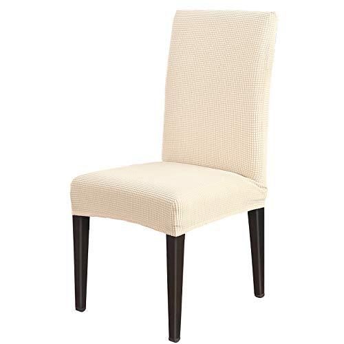 AngLink Stuhlhussen 6 Stück, Stuhlhusse Stretch Beige, Elastischer Stuhlbezug Stretch Abnehmbare Waschbar