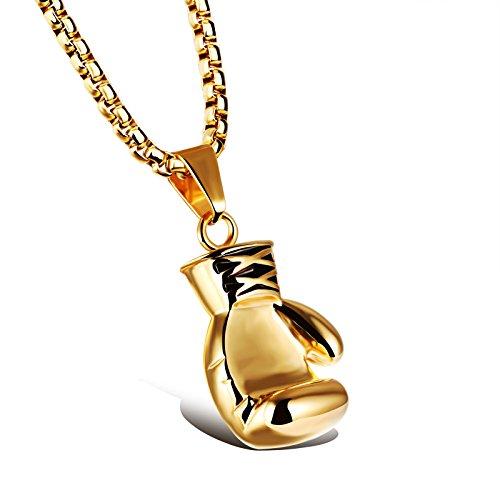 iLove EU Edelstahl Anhänger Halskette Gold Boxhandschuh Boxhandschuhe Handschuhe Valentinstag Paar Partner Geschenk Herren mit 60cm Quadrat Kette