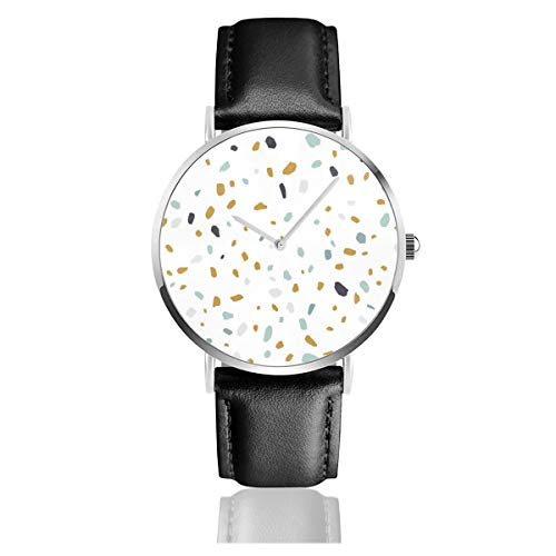 Damen-Armbanduhr, elegant, silberfarbenes rundes Gehäuse, PU-Lederband, Terrazzo-Textur oder Fliese, nahtloses Muster, Analog, Quarzuhrwerk, modische Armbanduhr