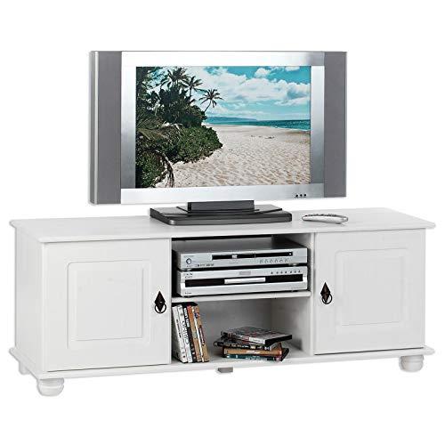 IDIMEX TV Lowboard Belfort Kiefer massiv weiß 134 x 50 cm Fernsehtisch Schrank Bank Rack Fernsehkommode mit 2 Türen und 2 Ablagen