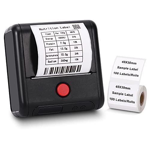 Bluetooth Etikettendrucker - Handy Thermo-Etikettendrucker für Industrie, Adresse, Barcode, Versand, Geschäft, Memoking Kompatibel mit Phomemo M200 Etikettendrucker für Android und iOS - Schwarz