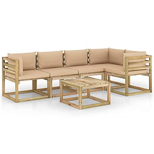 Tidyard Juego de Muebles jardín 6 pzas Cojines Madera Pino impregnado 8# | Muebles de Jardín Conjunto de Jardín Muebles Terraza Exterior Conjuntos Sofa Palets Exterior