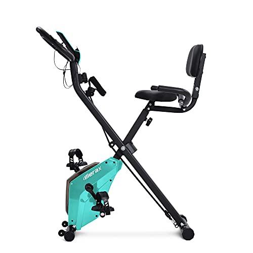 T-Day Bicicleta Estáticas Ejercicio Bicicleta Magnética Bicicleta Gimnasia Ciclo De Bicicleta Plegable Bicicleta Estacionaria con Asiento Tapizado Y Respaldo De Uso Doméstico Interior