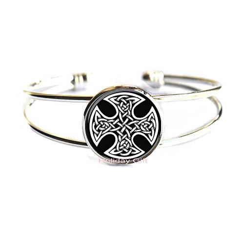 Holiday gift Celtic Cross Bracelet,Celtic Jewelry,Celtic Knot Bangle.HTY-240