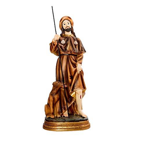 DRW Figura San Roque de Resina de 12 cm con Caja de PVC con la Historia