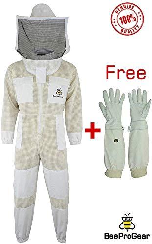 SRVG - Bienenanzug mit GRATIS Handschuhen 3-fache Deckung Ultra-belüfteter Sicherheitsanzug Unisex-Schutzanzug aus weißem Gewebenetz Imker Bienenanzug Runder Schleier (3XL)