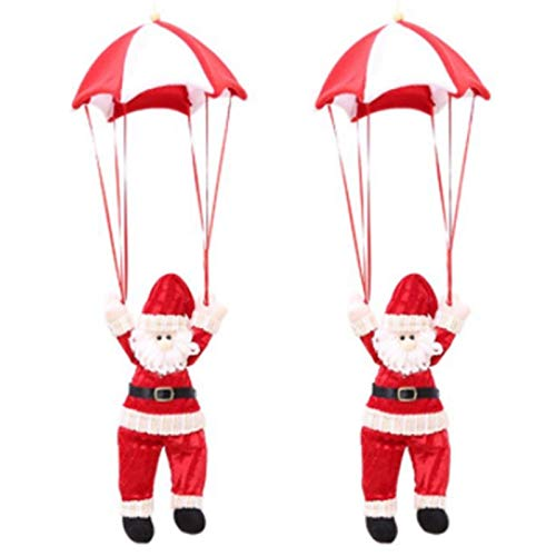 Casinlog 2 piezas de colgante de Papá Noel Atrio colgante de Navidad paracaídas Santa Claus muñeco de nieve colgante decoraciones de Navidad