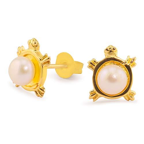 Monkimau Pendientes para mujer con forma de tortuga de latón chapado en oro pintado a mano con perla