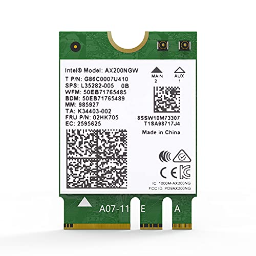 AX3000 WiFi 6 M.2 Card | Bluetooth 5.1 NGFF Adapter | Intel AX200 Chip,2402Mbps + 574Mbps,MU-MIMO,OFDMA,Ultra-Low Latency | 802.11AX Dual-Band M2 2230 Card (for Windows 10, 64-bit Only)