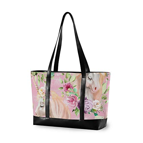RELEESSS Tote Laptop Bags Unicorn Flower Handbag Shoulder Bag Laptop Case for Women Ladies Girls